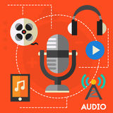 Audio production and podcast concept royalty free illustration
