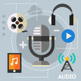 Audio production and podcast concept. Flat style vector illustration online web banner royalty free illustration