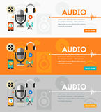 Audio production and podcast concept. Flat style vector illustration online web banner vector illustration