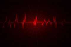 Audio or pulse  beat wave. Red wave inspired by audio or pulse monitor. Image includes large dark copy space Stock Photos