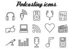 Audio que hace un podcast iconos Fotografía de archivo libre de regalías