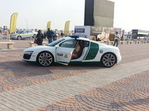 Audio R8 police car. Dubai Air Show Royalty Free Stock Photography