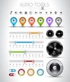 Audio raccolta degli elementi di disegno degli strumenti: illustrazione vettoriale