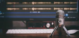 Audio record at home. Condenser studio microphone stock image