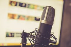 Audio recording vocal studio voice microphone. Audio recording vocal studio voice microphone with anti shock mount and built in anti pop filter for singing and royalty free stock image