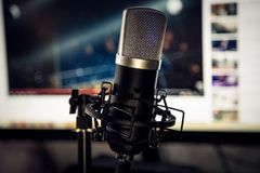 Audio recording vocal studio voice microphone. Audio recording vocal studio voice microphone with anti shock mount and built in anti pop filter for singing and royalty free stock photos