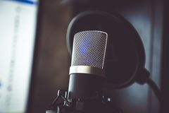 Audio recording vocal studio voice microphone. Audio recording vocal studio voice microphone with anti shock mount and built in anti pop filter for singing and royalty free stock photography