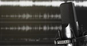 Audio registrerend en podcasting concept stock afbeeldingen