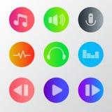 Audio rozsądnej wektorowej ikony colour ustalony żywy guzik ilustracja wektor