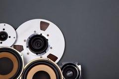 Audio Rozsądni mówcy i Otwierają rolka przedmioty Inkasowych Fotografia Royalty Free