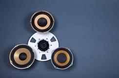 Audio Rozsądni mówcy i Otwierają rolka przedmioty Inkasowych Fotografia Stock