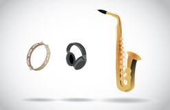 Audio - sax, tambourine, headphones Stock Image
