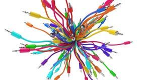Audio sciame dei cavi illustrazione 3D Fotografie Stock Libere da Diritti