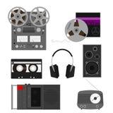 Audio. Set of retro audio device and equipment Stock Photos