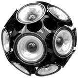 Audio sfera degli altoparlanti isolata su bianco Fotografia Stock Libera da Diritti