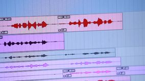 Audio or sound editing software going through the Timeline stock video