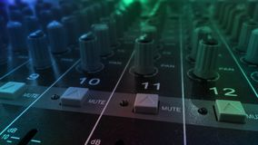 Audio sound equalizer equipment in concert night club party festival. Sound mixer with various knobs and sliders stock images