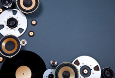 Audio Sound Media Objects Collection Set. With Speakers, Tape, Records Royalty Free Stock Image
