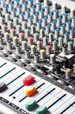 Audio sound mixer. Closeup of an audio sound mixer royalty free stock photos