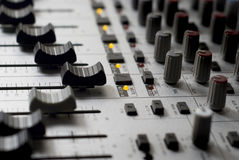 Audio sound mixer. Closeup of audio sound mixer, graphic equalizer and recording equipment Royalty Free Stock Photos