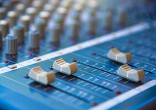 Audio sound mixer&amplifier equipment, sound acoustic musical mi Royalty Free Stock Images