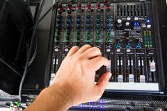 Audio sound mixer. Selective focus royalty free stock photo