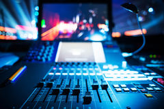 Audio sound mixer. With buttons and sliders . A little of DOF Royalty Free Stock Image