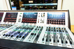 Audio sound mixer with buttons and sliders Royalty Free Stock Images