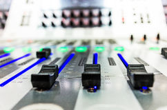 Audio sound mixer with buttons and sliders Stock Photo