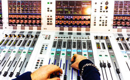 Audio sound mixer with buttons and sliders Stock Photography