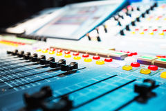 Audio sound mixer with buttons and sliders Royalty Free Stock Image