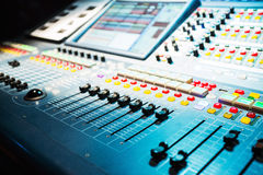 Audio sound mixer with buttons and sliders Stock Photos