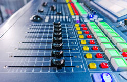 Audio sound mixer with buttons and sliders . Royalty Free Stock Image