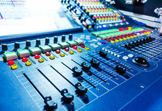 Audio sound mixer with buttons and sliders . Stock Photo