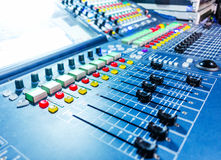 Audio sound mixer with buttons and sliders . Royalty Free Stock Photography