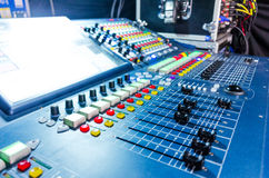 Audio sound mixer with buttons and sliders . Royalty Free Stock Images