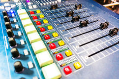 Audio sound mixer with buttons and sliders . Stock Photography