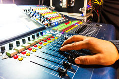 Audio sound mixer with buttons and sliders . Royalty Free Stock Photo
