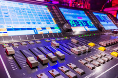 Audio sound mixer with buttons and sliders . Stock Image