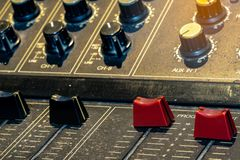 Audio sound mixer console. Sound mixing desk. Music mixer control panel in recording studio. Audio mixing console with faders stock photo