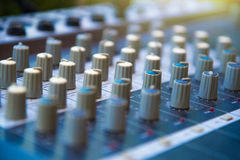 Audio sound mixer khob button board panel&amplifier equipment, s Stock Images