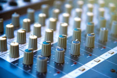Audio sound mixer khob button board panel&amplifier equipment, s Royalty Free Stock Images