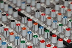 Audio Sound Mixer Knobs and Buttons Stock Photos