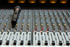 Audio sound mixer with microphone. Part of an audio sound mixer with microphone royalty free stock photography