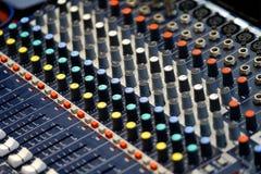 Audio sound mixer panel close-up stock photography