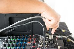 Audio sound mixer. Selective focus royalty free stock image