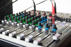 Audio sound mixer. Selective focus stock image