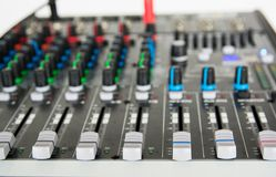Audio sound mixer. Selective focus stock images