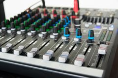 Audio sound mixer. Selective focus stock photography