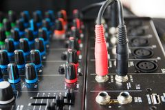 Audio sound mixer. Selective focus royalty free stock photography